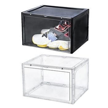 Plastic shoe organizer Stackable storage box magnetic