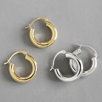 Vintage Geometry Hollow Thick Round 925 Sterling Silver Earrings 18k Gold Plated S925 Sterling Sliver Hoop Earrings For Girls