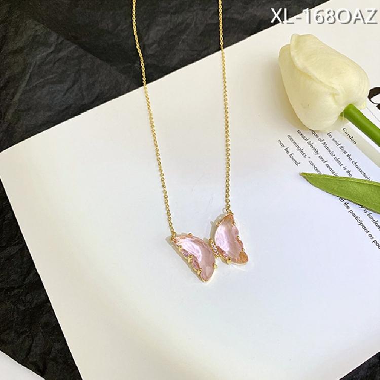Butterfly gift for women purple Butterfly pendant White Butterfly necklace Butterfly jewelry Necklace glass butterfly