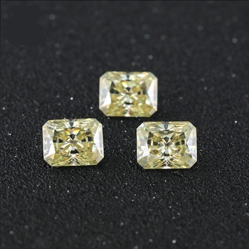 Wuzhou Gems wholesale Natural color moissanite diamonds Radiant cut Fancy yellow moissanite for jewelry ring making