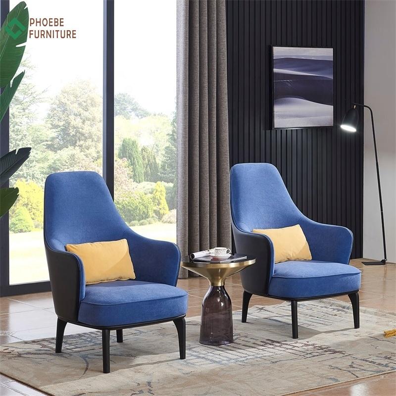 High Back Blue Velvet Fabric Bedroom Single Seater Upholstered