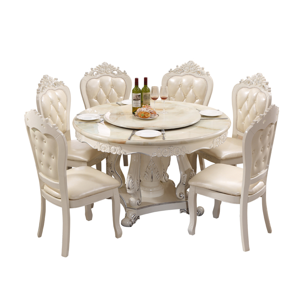 European Style Solid Wood White Round Dining Table Set 9 Chairs ...
