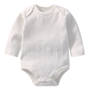 New born baby clothes Infant Product Solid color white romper jumpsuit tiny cottons