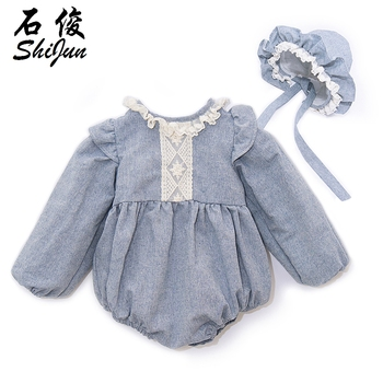 Shijun Baby Girls Romper Set Linen Spanish Baby Clothes Wholesale Lace Soft Baby Rompers