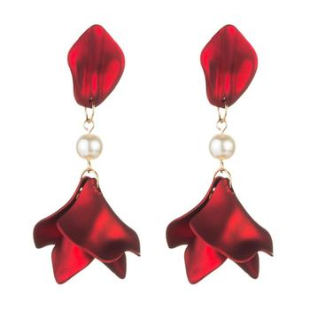 Sexy Women Vintage Temperament Alloy Red Rose Petal Pearl Earrings 2019