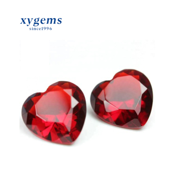 xygems Brilliant Heart Cut Color Synthetic gemstone Dark Red Glass Gems For Jewelry Making
