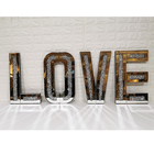 Wholesale Crushed Diamond Mirrored Furniture Crystal Letters LOVE Wall Art