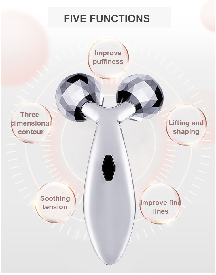 Factory direct wholesales 3D face-lift facial massager roller rose quartz vibrating anti-aging