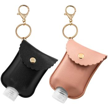 Portable PU leather Plastic Travel Bottle 30ml Hand sanitizer holder with Keychain