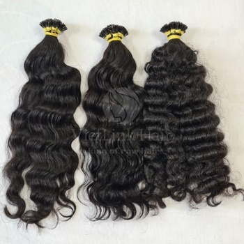 Original 100% Cambodian Human Hair Raw Cuticle Aligned Unprocessed Natural Wavy, Deep Wave Itip 2 Mm Wholesale Supplier