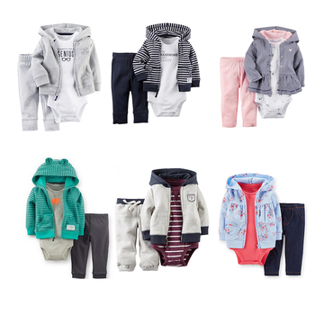 Wholesale Fashion Children Boys Girls Cotton Hooded Long Sleeve Jacket/Romper/Pants 3pcs Set Kids Clothing Sets Baby Clothes