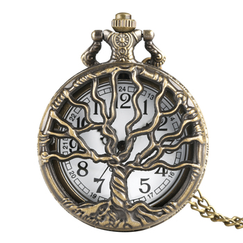 Hollow Life Tree Quartz Pocket Watch Immortal Necklace Chain Bronze Design Pendant Clock Old Vintage Fob