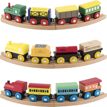 Montessori Wooden Train Set 12 PCS Train Toys Magnetic Set Includes 3 Engines Toy For Kids Thomas Train Set Tracks Play Railway
