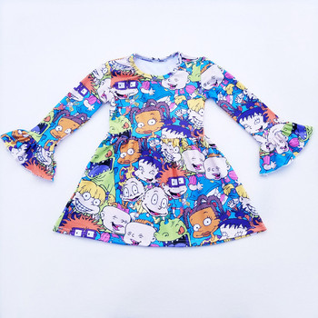 2020 hot sale cartoon tunic dress for cute girls long sleeve baby girl frock design girl party dress for winter latest fashion