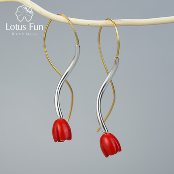 Lotus Fun Special Ethnic Style Vintage Gold Red Rose Flower Earring 925 Sterling Silver Fine Jewelry Dangle Earrings