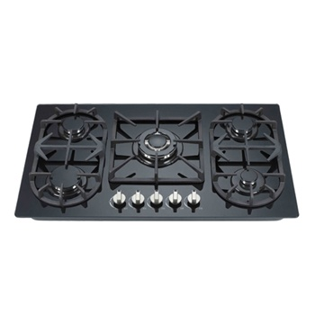 Kitchen cooker 90cm tempered glass cooktop LPG NG gas stove with 5 burner