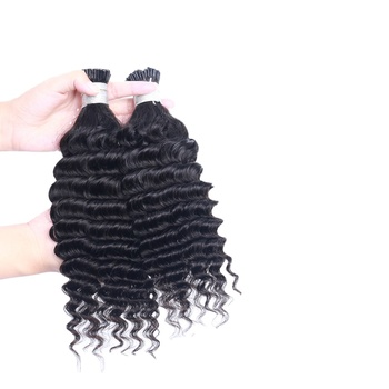Deep Wave Human Hair Extensions Micro links I Tip Hair Bulk For Women Virgin Hair Extensions drop shipping service