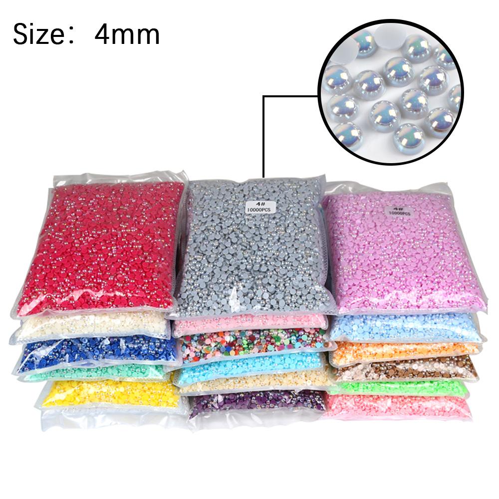 Mix Farben Farbe Perlen 2mm 3mm 4mm 5mm pro Packung ab Halbrunde Perlen Perle Flache Rückseite Perle für Nail Art, Bastel dekoration