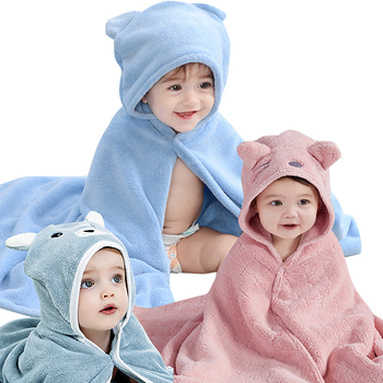 customized soft Cartoon animal face bear kids soft bath towels bamboo set hooded baby towel