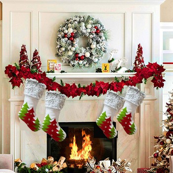 Traditional Christmas Stockings Set Christmas Stockings Rustic Family Pack Stockings for Xmas Holiday Party Decors