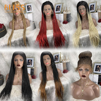 Bliss Free Shipping Long Braided Lace Wigs Synthetic Hair Lace Front Wigs Heat Resistant Fake Scalp Wig For Women