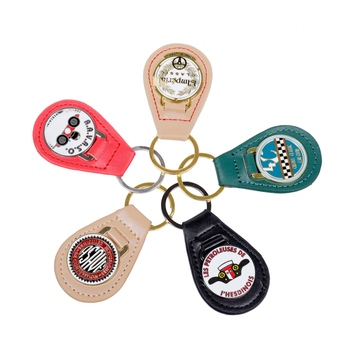 Free Sample New Arrivals Custom Customized Personalized Souvenir Enamel Logo Genuine Leather Key Fob