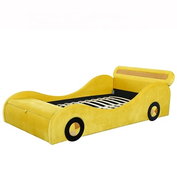 Willsoon furniture 1421 Modern fashion car styling velvet fabric children's kids bed