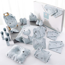 Latest style 100 cotton romper full month lovely carton pattern design new born baby clothing gift set