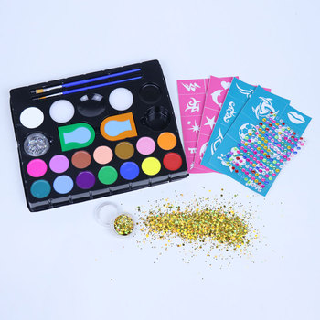 Christmas Face Paint Kit Hot Selling with Stencils, Hair Chalk