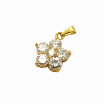New Arrival Elegant Big Diamond Gemstone Designs Flower Charms Pendant 24k Gold Colour Pendant For Women