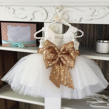 Ivy10090A Hot sale kids girls big bow design party dress baby girls birthday dress fancy lace frocks