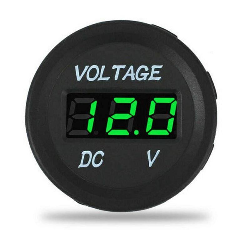Green 4 Pieces DC 12V Car Voltage Gauge LED Display Waterproof Voltmeter Digital Round Panel Voltmeter Compatible with Vehicle Motorcycle Truck Camper Caravan ATV UTV Car Boat