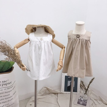 Ivy10152A Summer girl pure color sun dress new sleeveless Korean fashion casual frocks for kids