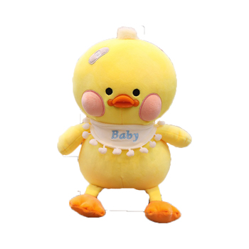 ins hot selling cute stuffed farm animals yellow duck plush toys with pink spouts