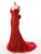 2021 New style sexy red lace bowknot backless prom dress Party Dress Evening Dress Long