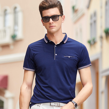 Custom No MOQ Men Summer Cotton Polyester Golf Solid Dyed Pocket Polo Shirt Direct Garment Factory