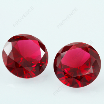 Wholesale Large glass gems Red color Round Brilliant cut Crystal loose glass gemstones bulk in stock