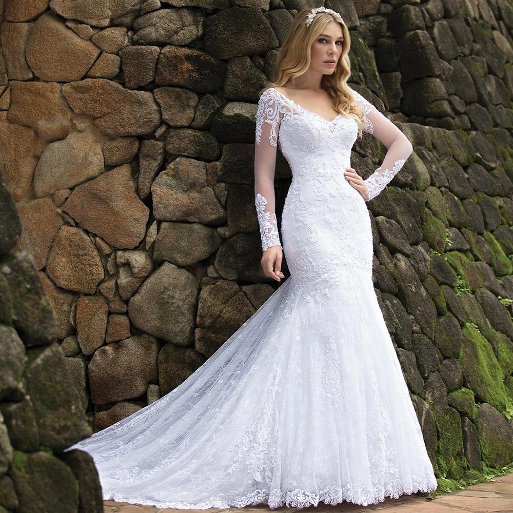 Muslim Wedding Dresses Long Sleeve Bridal Gowns New Africa Bridal ...