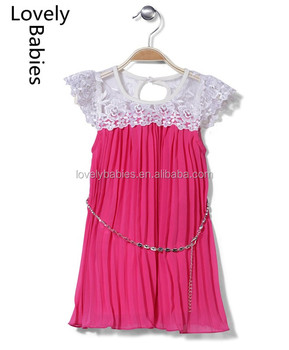 Kids beautiful model dresses 2016 baby lace top cut sleeves net frock