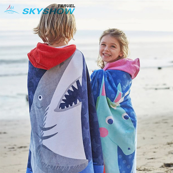 Quick Dry Suede Swimming Beach Bath Towels Kids Shark Towel Poncho Children Kid Character Beach Towel With Hood Hooded