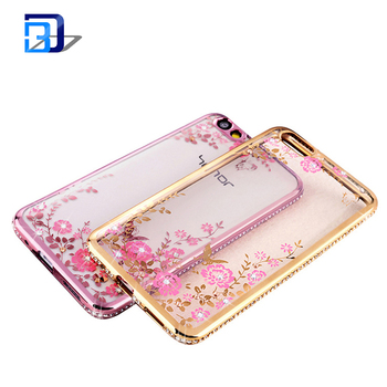 Plating diamond case secret garden tpu soft transparent back cover phone case for Huawei honor 4X
