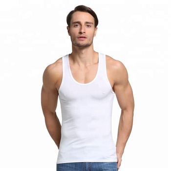 Wholesale Alanshow 100 cotton rib mens blank tank top solid men tank tops