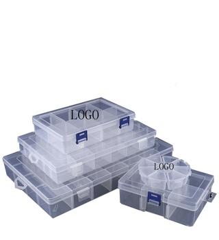 clear pp plastic hardware storage boxes with removable divider