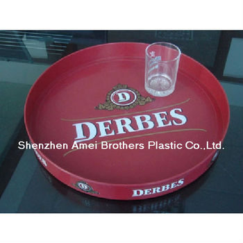 OEM ABS Vacuum Forming Plastic Disposable Round Red Restaurant Food Tray Packing Tray