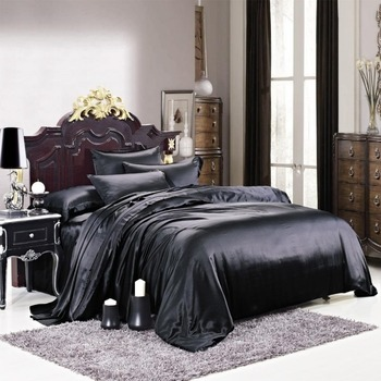 Luxuer 7PC Solid Silk Bedding Collections Machine Washable 445 Thread Count Handmade Pure Mulberry Silk King Size, Black