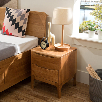 Bedroom Furniture Solid Oak Nightstand Bedside Table