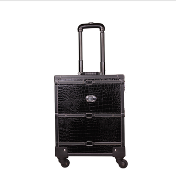 Yaeshii strong oem rolling make up train case with drawers in vintage style