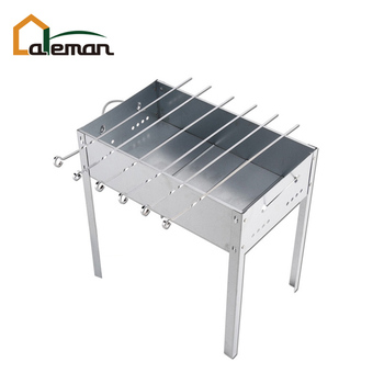 Detachable/Collapsible Galvanized Steel Mangal Kebab/Kabob/Shashlik Grill, Portable BBQ Mangal Brazier Case with 6pcs Skewer