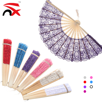Wholesale Women Sexy Lace Silk Folding Hand Fan with Bamboo Frame Chinese Vintage Retro Hand Held Fans