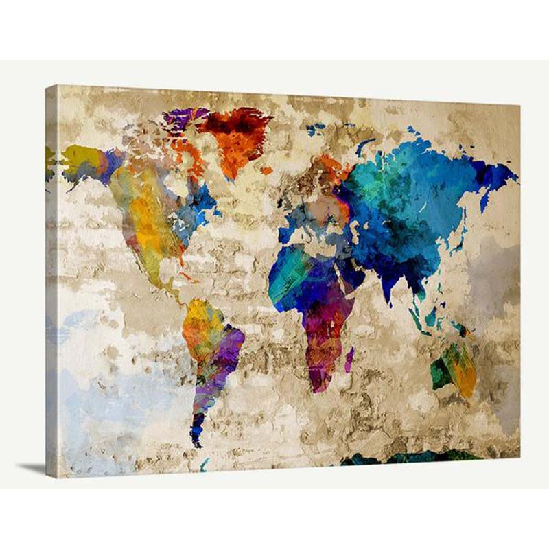 Antique World Map On Canvas Best Of Wall Art Design Ideas Modern Intended For Painting Buy Product